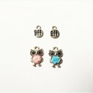 Mini Owl & Rose Flowers BFF Charms Pendants